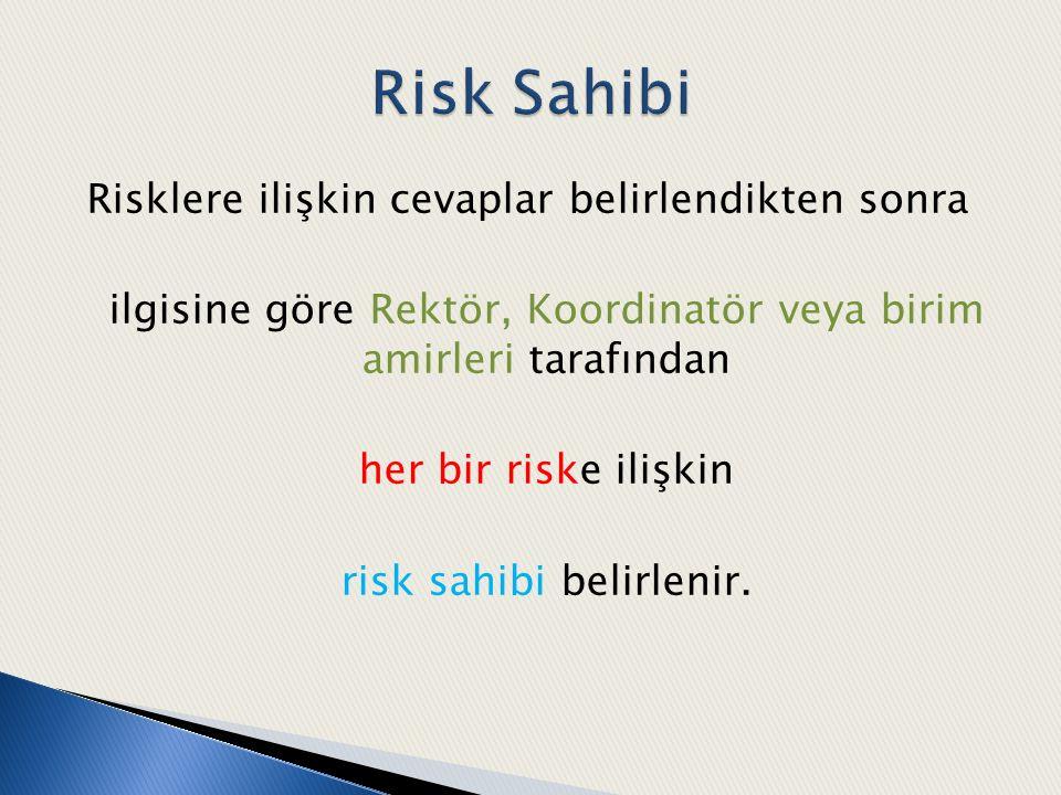 Risklere ilişkin cevaplar belirlendikten sonra ilgisine göre Rektör, Koordinatör veya birim amirleri tarafından her bir riske ilişkin risk sahibi beli