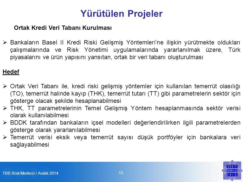 TBB Risk Merkezi / Aralık 2014 13 Yürütülen Projeler Ortak Kredi Veri Tabanı Kurulması  Bankaların Basel II Kredi Riski Gelişmiş Yöntemleri'ne ilişkin yürütmekte oldukları çalışmalarında ve Risk Yönetimi uygulamalarında yararlanılmak üzere, Türk piyasalarını ve ürün yapısını yansıtan, ortak bir veri tabanı oluşturulması Hedef  Ortak Veri Tabanı ile, kredi riski gelişmiş yöntemler için kullanılan temerrüt olasılığı (TO), temerrüt halinde kayıp (THK), temerrüt tutarı (TT) gibi parametrelerin sektör için gösterge olacak şekilde hesaplanabilmesi  THK, TT parametrelerinin Temel Gelişmiş Yöntem hesaplanmasında sektör verisi olarak kullanılabilmesi  BDDK tarafından bankaların içsel modelleri değerlendirilirken ilgili parametrelerden gösterge olarak yararlanılabilmesi  Temerrüt verisi eksik veya temerrüt sayısı düşük portföyler için bankalara veri sağlayabilmesi