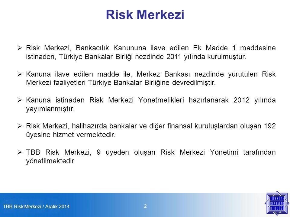 TBB Risk Merkezi / Aralık 2014 2 Risk Merkezi  Risk Merkezi, Bankacılık Kanununa ilave edilen Ek Madde 1 maddesine istinaden, Türkiye Bankalar Birliği nezdinde 2011 yılında kurulmuştur.