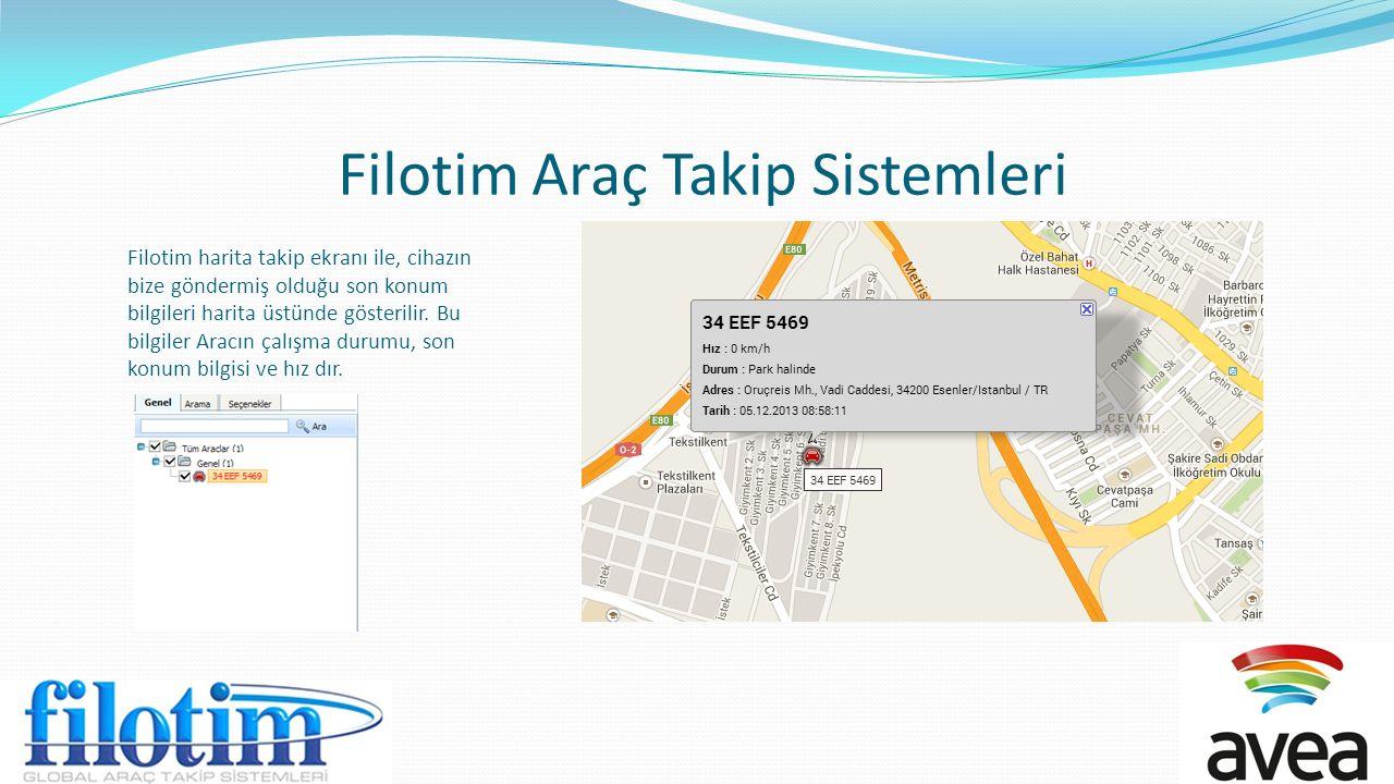 Filotim Araç Takip Sistemleri Filotim harita takip ekranı ile, cihazın bize göndermiş olduğu son konum bilgileri harita üstünde gösterilir. Bu bilgile