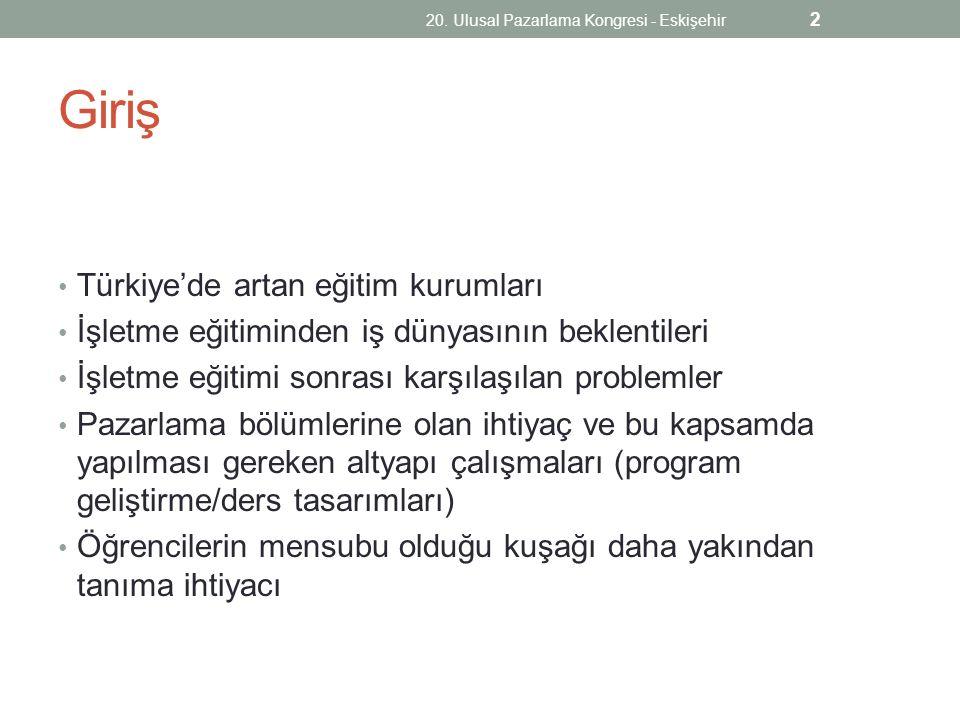 Giriş Türkiye'de artan eğitim kurumları İşletme eğitiminden iş dünyasının beklentileri İşletme eğitimi sonrası karşılaşılan problemler Pazarlama bölüm