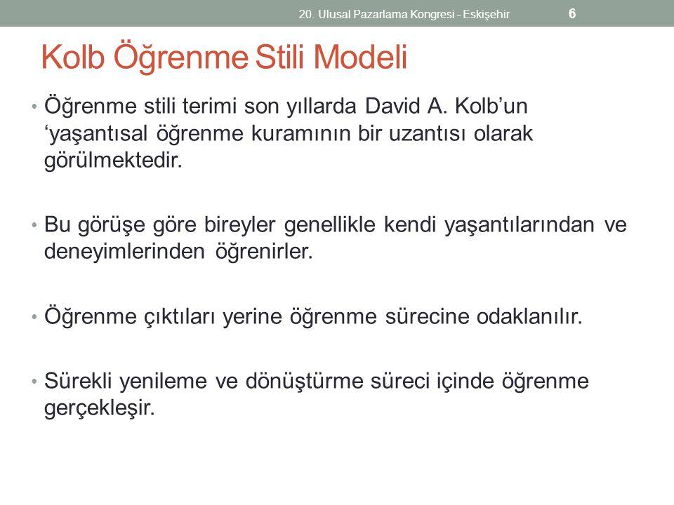 Kolb Öğrenme Stili Modeli Öğrenme stili terimi son yıllarda David A. Kolb'un 'yaşantısal öğrenme kuramının bir uzantısı olarak görülmektedir. Bu görüş