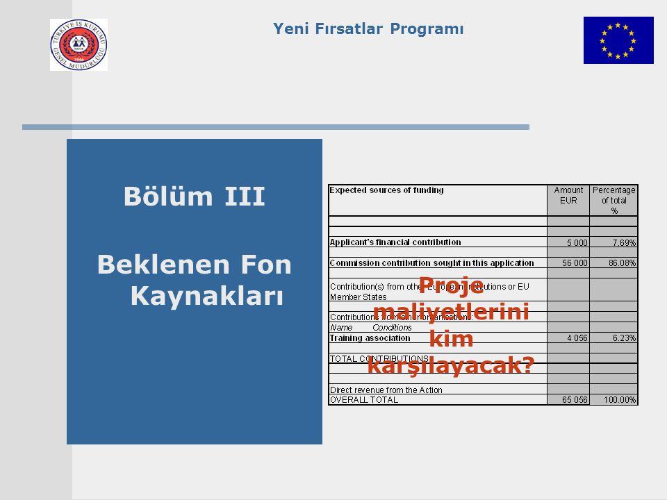 Yeni Fırsatlar Programı Bölüm III Beklenen Fon Kaynakları Proje maliyetlerini kim karşılayacak