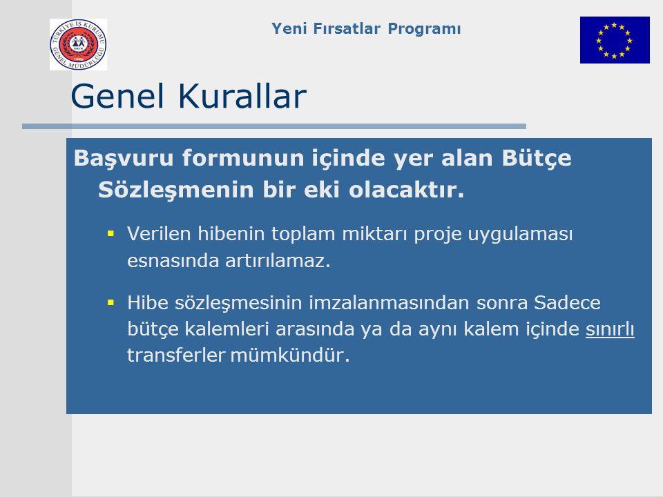 Yeni Fırsatlar Programı Genel Kurallar Başvuru formunun içinde yer alan Bütçe Sözleşmenin bir eki olacaktır.