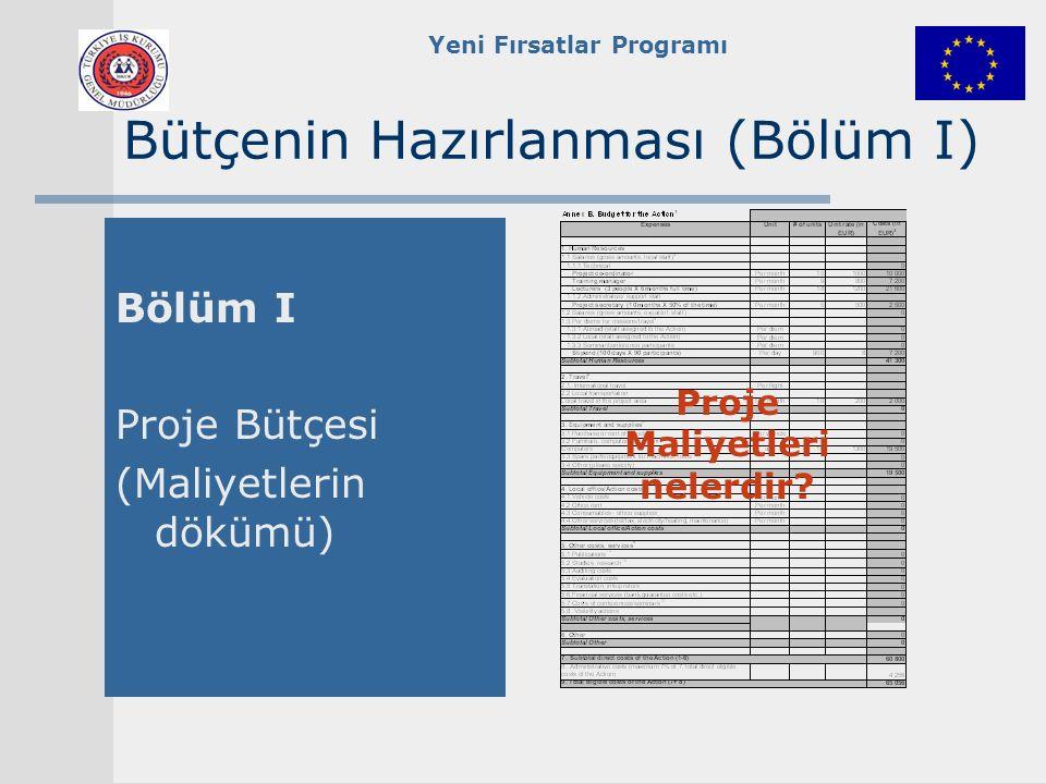 Yeni Fırsatlar Programı Proje Maliyetleri nelerdir.