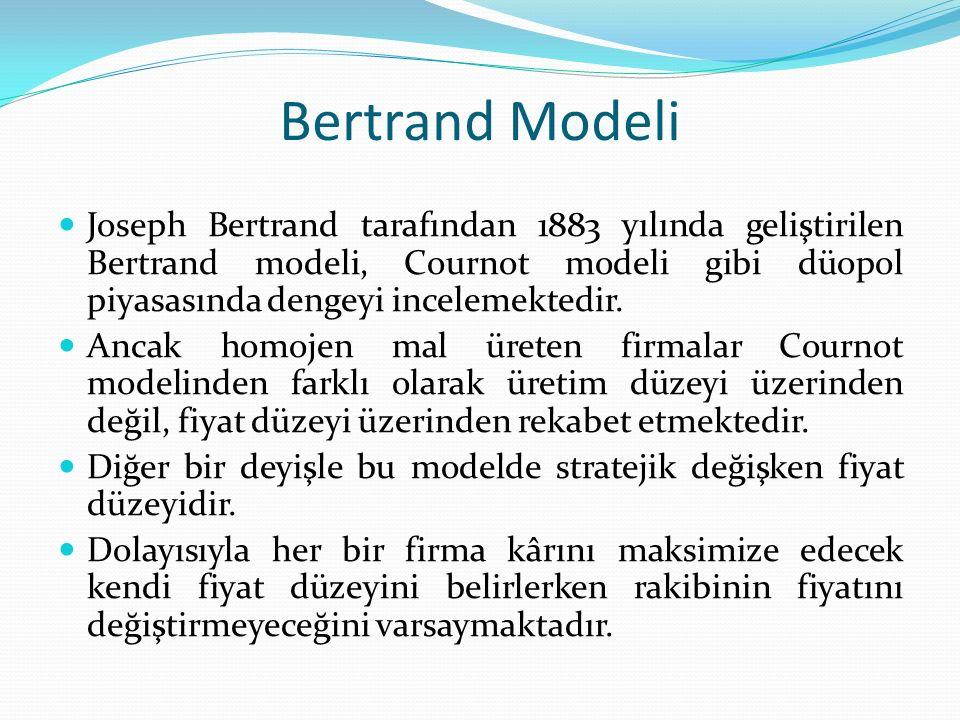 Bertrand Modeli Joseph Bertrand tarafından 1883 yılında geliştirilen Bertrand modeli, Cournot modeli gibi düopol piyasasında dengeyi incelemektedir. A