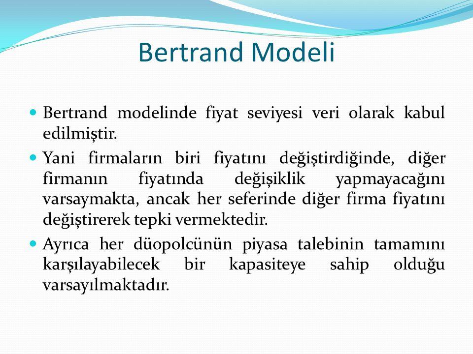 Bertrand Modeli Bertrand modelinde fiyat seviyesi veri olarak kabul edilmiştir. Yani firmaların biri fiyatını değiştirdiğinde, diğer firmanın fiyatınd