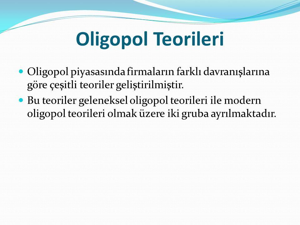 Oligopol Teorileri Oligopol piyasasında firmaların farklı davranışlarına göre çeşitli teoriler geliştirilmiştir. Bu teoriler geleneksel oligopol teori