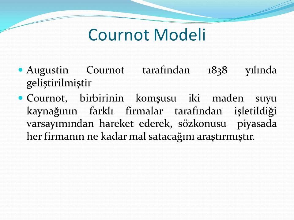 Cournot Modeli Augustin Cournot tarafından 1838 yılında geliştirilmiştir Cournot, birbirinin komşusu iki maden suyu kaynağının farklı firmalar tarafın