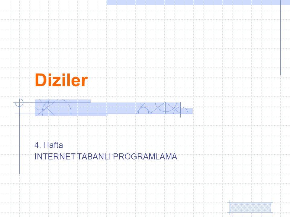 Diziler 4. Hafta INTERNET TABANLI PROGRAMLAMA