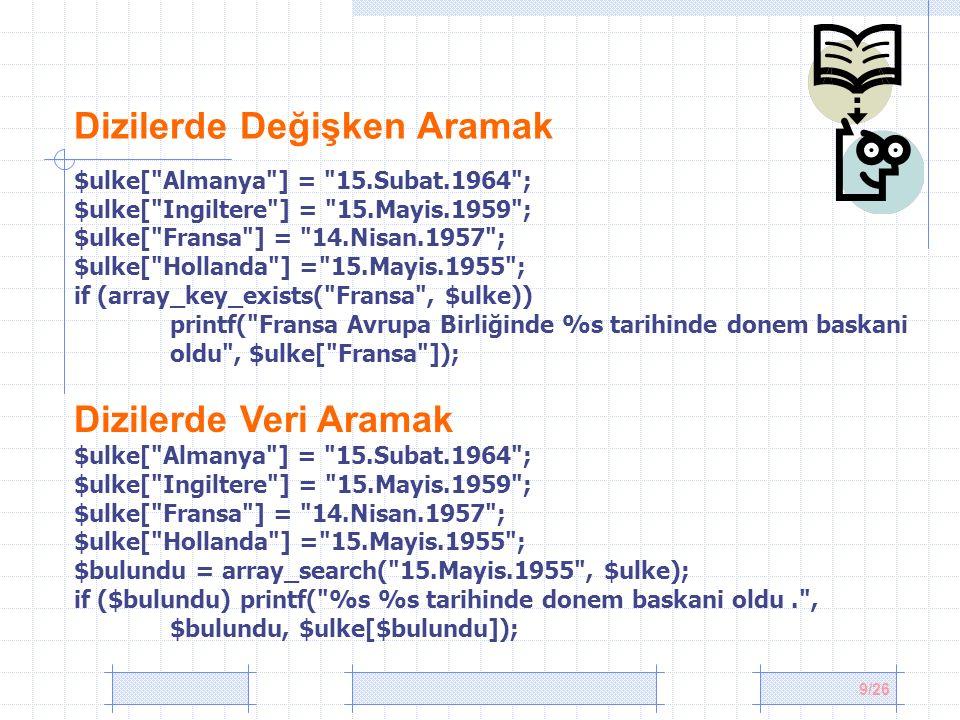 20/26 Tekrarlanan indeksleri birleştirmek $sinif1 = array( ercan => 100, ayhan => 85); $sinif2 = array( osman => 78, ercan => 45); $sinifNotlari = array_merge_recursive($sinif1, $sinif2); print_r($sinifNotlari); //Array ( [ercan] => Array ( [0] => 100 [1] => 45 ) [ayhan] => 85 [osman] => 78 ) İki diziyi kaynaştırmak $kisaltma = array( fr , de , be , sp ); $ulkeler= array( Fransa , Almanya , Belçika , İspanya ); $liste = array_combine($kisaltma, $ulkeler); print_r($liste); //Array ( [fr] => Fransa [de] => Almanya [be] => Belçika [sp] => İspanya ) *Eleman sayısının aynı olması gerekir.