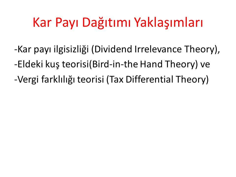 Kar Payı Dağıtımı Yaklaşımları -Kar payı ilgisizliği (Dividend Irrelevance Theory), -Eldeki kuş teorisi(Bird-in-the Hand Theory) ve -Vergi farklılığı