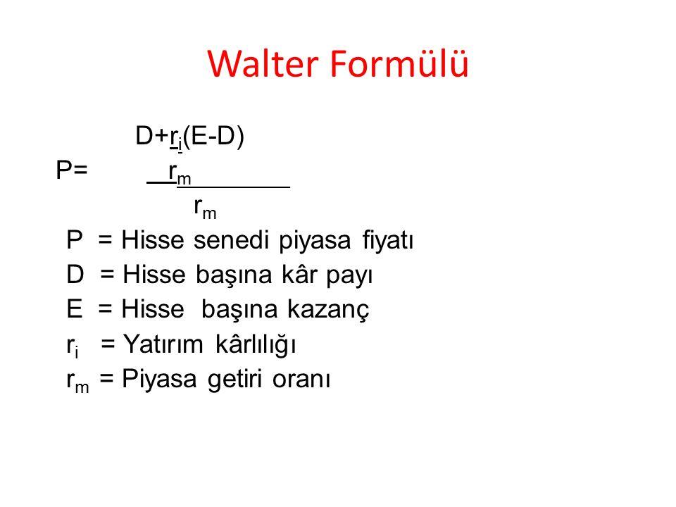 Walter Formülü D+r i (E-D) P= r m__________ r m P = Hisse senedi piyasa fiyatı D = Hisse başına kâr payı E = Hisse başına kazanç r i = Yatırım kârlılı
