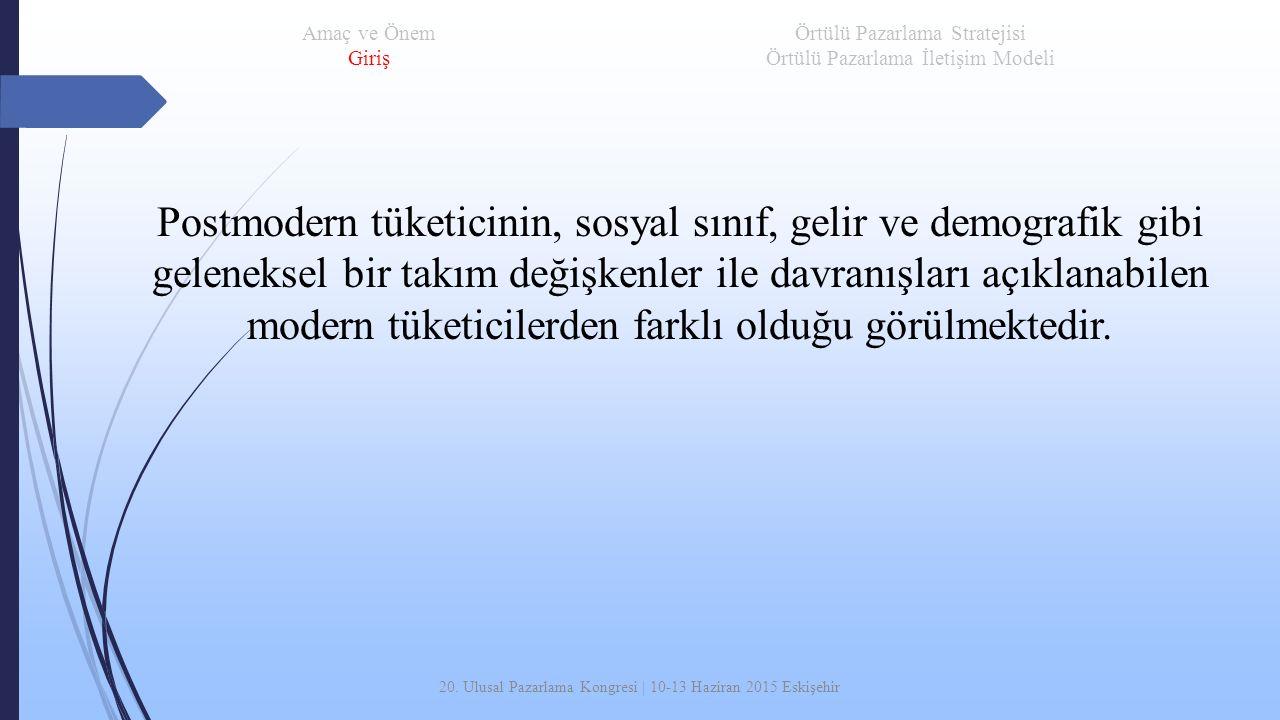20. Ulusal Pazarlama Kongresi | 10-13 Haziran 2015 Eskişehir Postmodern tüketicinin, sosyal sınıf, gelir ve demografik gibi geleneksel bir takım değiş