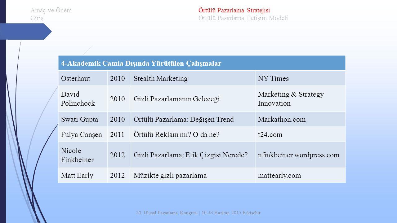 20. Ulusal Pazarlama Kongresi | 10-13 Haziran 2015 Eskişehir 4-Akademik Camia Dışında Yürütülen Çalışmalar Osterhaut2010Stealth MarketingNY Times Davi