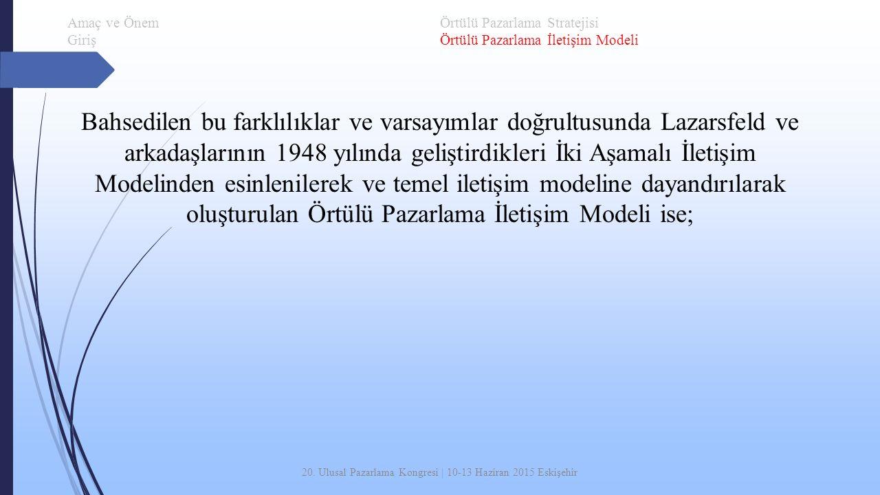 20. Ulusal Pazarlama Kongresi | 10-13 Haziran 2015 Eskişehir Bahsedilen bu farklılıklar ve varsayımlar doğrultusunda Lazarsfeld ve arkadaşlarının 1948