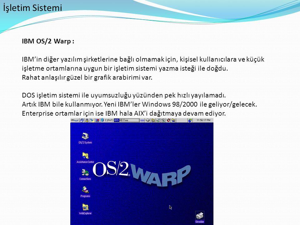 İşletim Sistemi IBM OS/2 Warp : IBM'in diğer yazılım şirketlerine bağlı olmamak için, kişisel kullanıcılara ve küçük işletme ortamlarına uygun bir işl