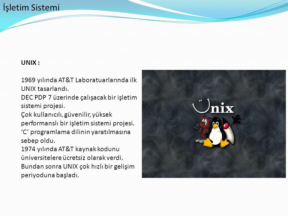 İşletim Sistemi UNIX : 1969 yılında AT&T Laboratuarlarında ilk UNIX tasarlandı. DEC PDP 7 üzerinde çalışacak bir işletim sistemi projesi. Çok kullanıc