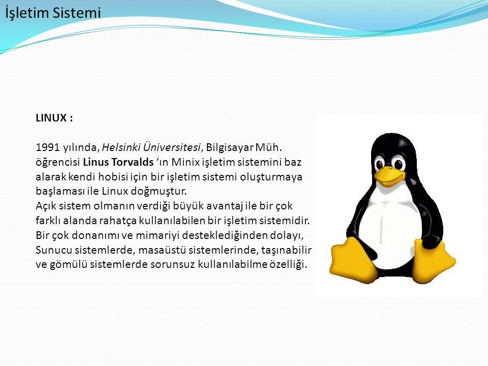 İşletim Sistemi LINUX : 1991 yılında, Helsinki Üniversitesi, Bilgisayar Müh. öğrencisi Linus Torvalds 'ın Minix işletim sistemini baz alarak kendi hob