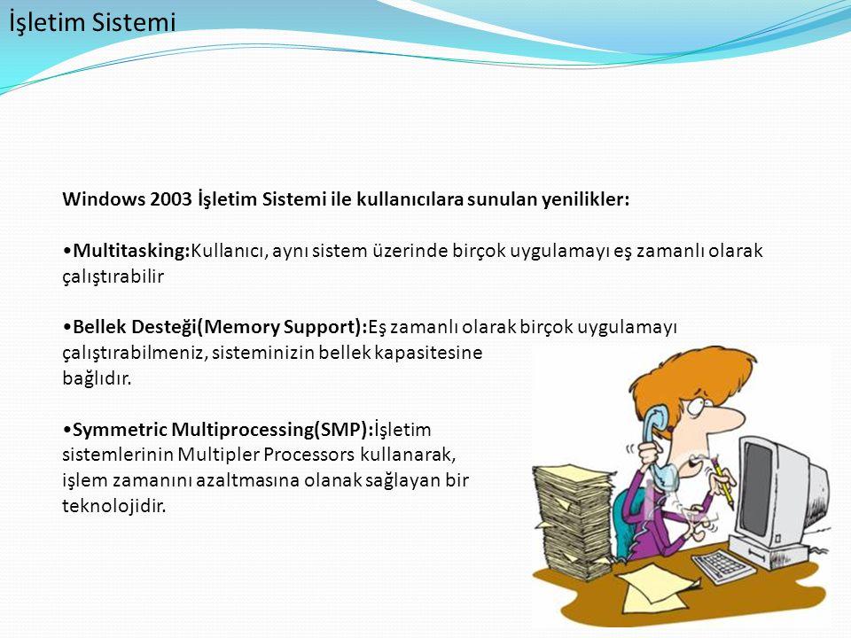 Windows 2003 İşletim Sistemi ile kullanıcılara sunulan yenilikler: Multitasking:Kullanıcı, aynı sistem üzerinde birçok uygulamayı eş zamanlı olarak ça
