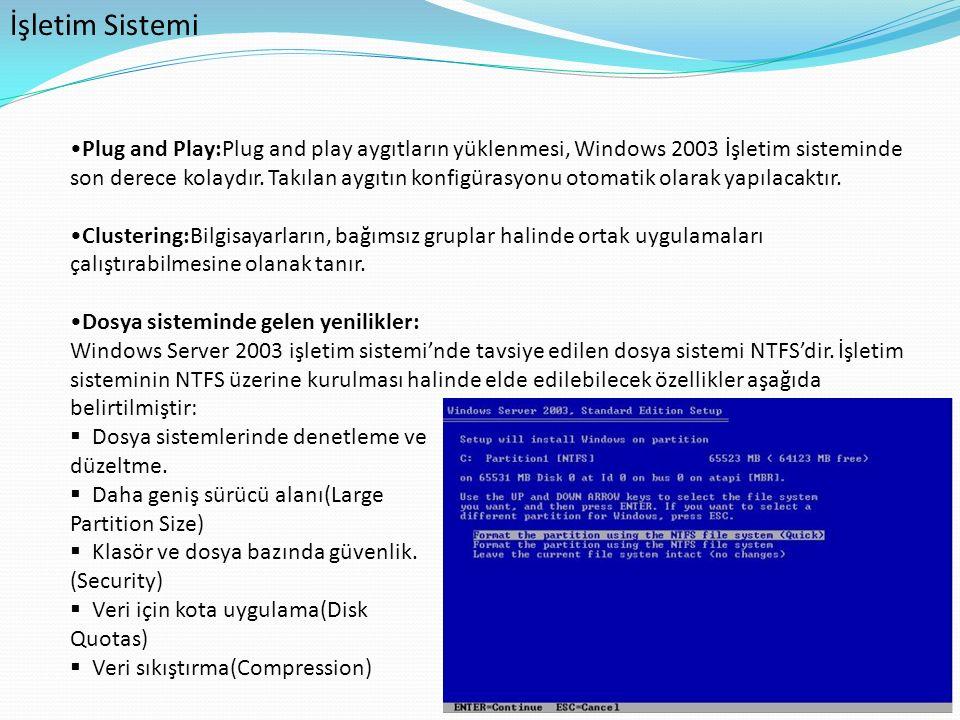 İşletim Sistemi Plug and Play:Plug and play aygıtların yüklenmesi, Windows 2003 İşletim sisteminde son derece kolaydır. Takılan aygıtın konfigürasyonu