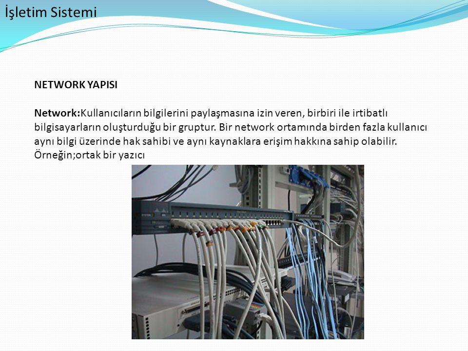 İşletim Sistemi NETWORK YAPISI Network:Kullanıcıların bilgilerini paylaşmasına izin veren, birbiri ile irtibatlı bilgisayarların oluşturduğu bir grupt