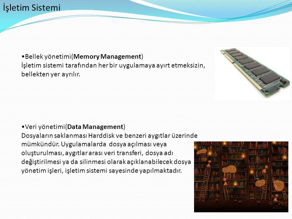 İşletim Sistemi Bellek yönetimi(Memory Management) İşletim sistemi tarafından her bir uygulamaya ayırt etmeksizin, bellekten yer ayrılır. Veri yönetim