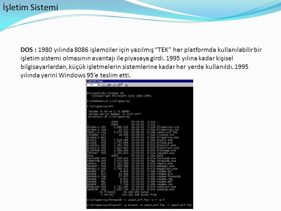 """İşletim Sistemi DOS : 1980 yılında 8086 işlemciler için yazılmış """"TEK"""" her platformda kullanılabilir bir işletim sistemi olmasının avantajı ile piyasa"""