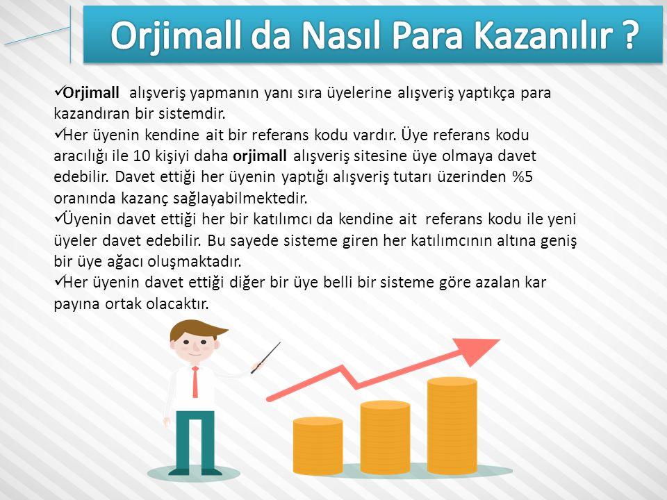 Orjimall alışveriş yapmanın yanı sıra üyelerine alışveriş yaptıkça para kazandıran bir sistemdir.