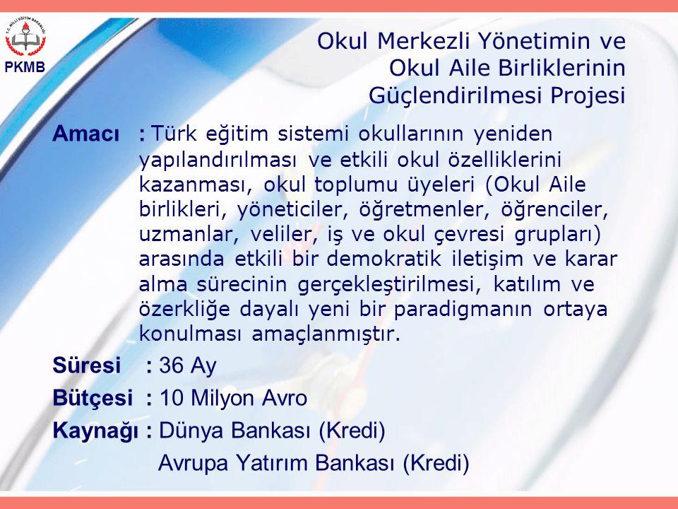 PKMB Okul Merkezli Yönetimin ve Okul Aile Birliklerinin Güçlendirilmesi Projesi Amacı: Türk eğitim sistemi okullarının yeniden yapılandırılması ve etkili okul özelliklerini kazanması, okul toplumu üyeleri (Okul Aile birlikleri, yöneticiler, öğretmenler, öğrenciler, uzmanlar, veliler, iş ve okul çevresi grupları) arasında etkili bir demokratik iletişim ve karar alma sürecinin gerçekleştirilmesi, katılım ve özerkliğe dayalı yeni bir paradigmanın ortaya konulması amaçlanmıştır.