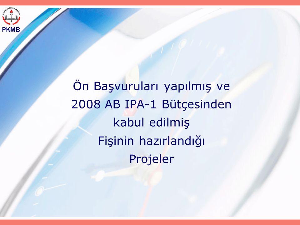 PKMB Ön Başvuruları yapılmış ve 2008 AB IPA-1 Bütçesinden kabul edilmiş Fişinin hazırlandığı Projeler