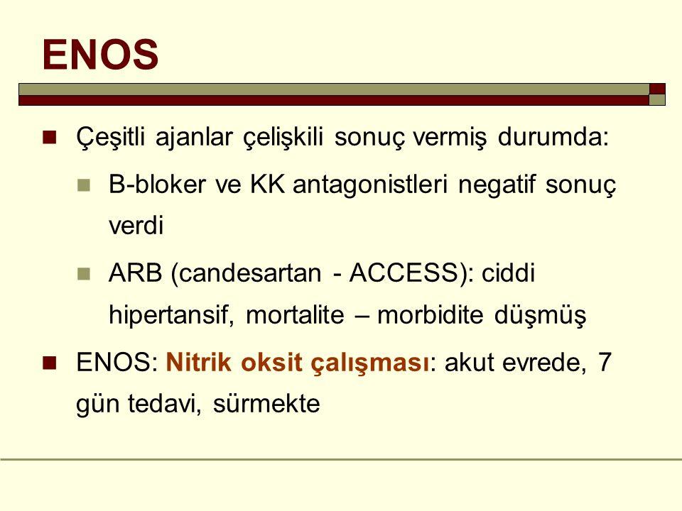 ENOS Çeşitli ajanlar çelişkili sonuç vermiş durumda: B-bloker ve KK antagonistleri negatif sonuç verdi ARB (candesartan - ACCESS): ciddi hipertansif,