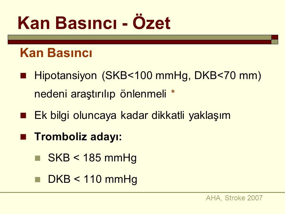 Kan Basıncı - Özet Kan Basıncı Hipotansiyon (SKB<100 mmHg, DKB<70 mm) nedeni araştırılıp önlenmeli * Ek bilgi oluncaya kadar dikkatli yaklaşım Trombol
