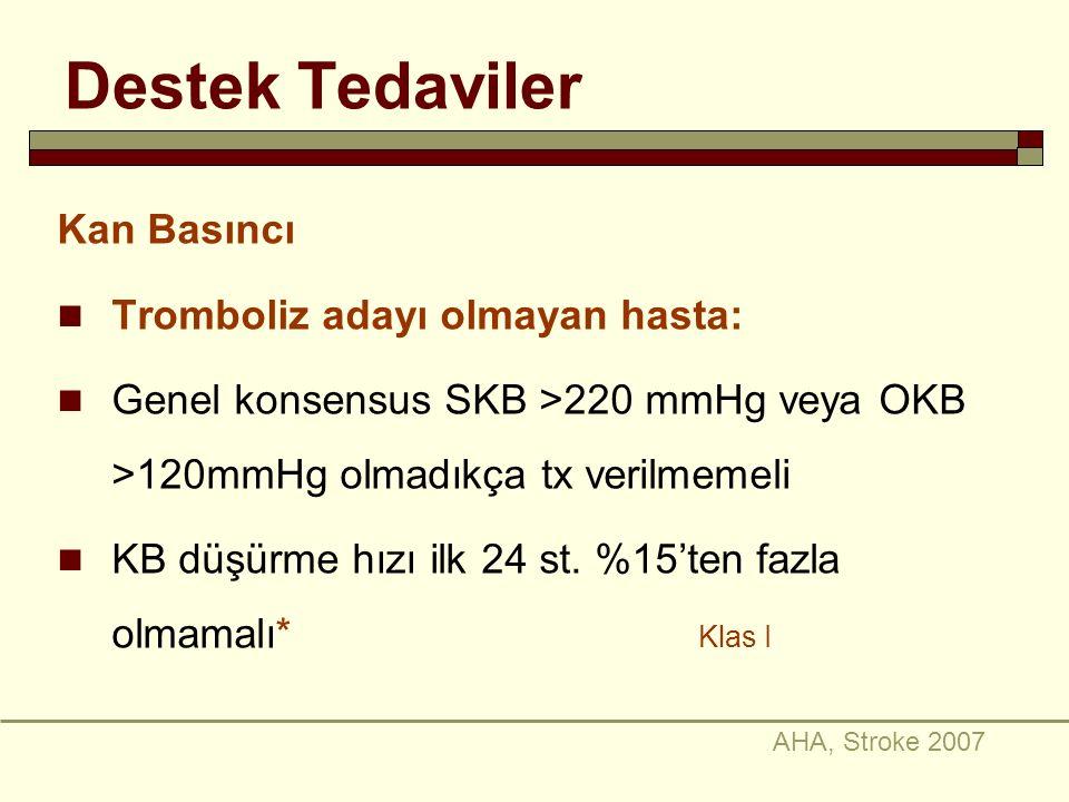 Destek Tedaviler Kan Basıncı Tromboliz adayı olmayan hasta: Genel konsensus SKB >220 mmHg veya OKB >120mmHg olmadıkça tx verilmemeli KB düşürme hızı i
