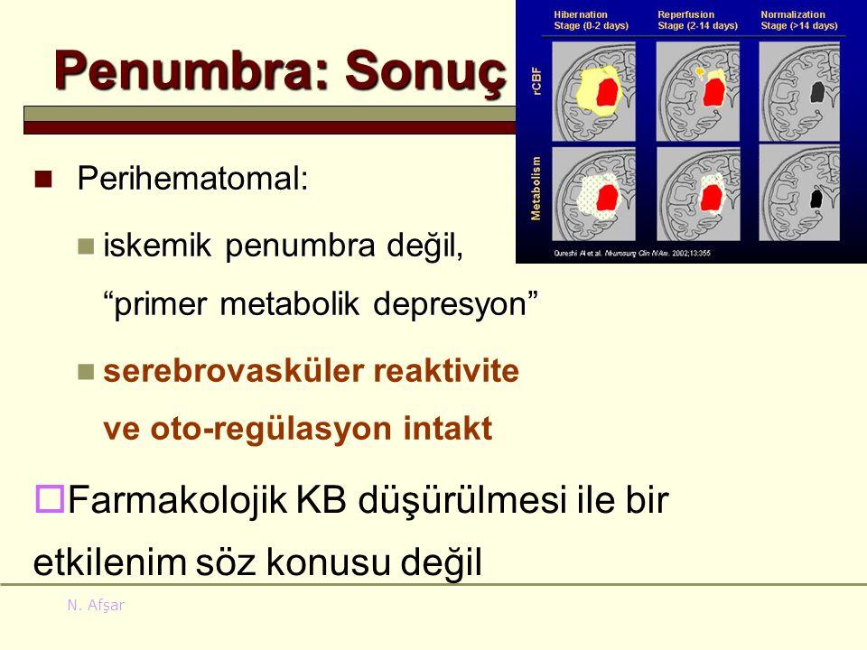 "N. Afşar Penumbra: Sonuç Perihematomal: Perihematomal: iskemik penumbra değil, ""primer metabolik depresyon"" iskemik penumbra değil, ""primer metabolik"