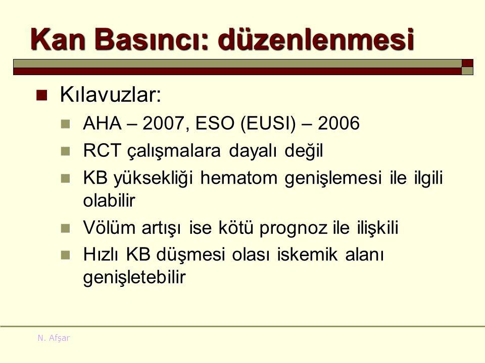 N. Afşar Kan Basıncı: düzenlenmesi Kılavuzlar: Kılavuzlar: AHA – 2007, ESO (EUSI) – 2006 AHA – 2007, ESO (EUSI) – 2006 RCT çalışmalara dayalı değil RC