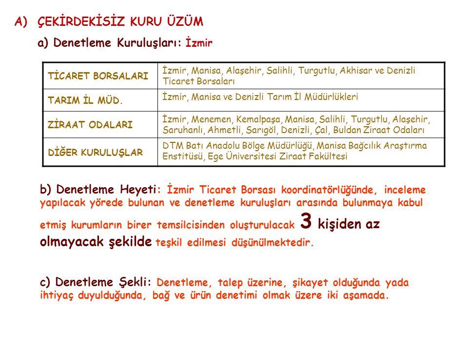 A)ÇEKİRDEKİSİZ KURU ÜZÜM a) Denetleme Kuruluşları: İzmir Ticaret Borsası koordinatörlüğünde, TİCARET BORSALARI İzmir, Manisa, Alaşehir, Salihli, Turgutlu, Akhisar ve Denizli Ticaret Borsaları TARIM İL MÜD.