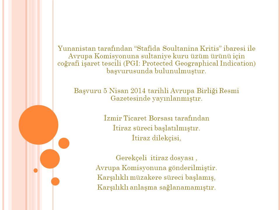 Yunanistan tarafından Stafida Soultanina Kritis ibaresi ile Avrupa Komisyonuna sultaniye kuru üzüm ürünü için coğrafi işaret tescili (PGI: Protected Geographical Indication) başvurusunda bulunulmuştur.