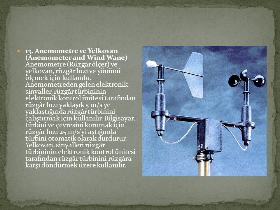 13. Anemometre ve Yelkovan (Anemometer and Wind Wane) Anemometre (Rüzgâr ölçer) ve yelkovan, rüzgâr hızı ve yönünü ölçmek için kullanılır. Anemometred