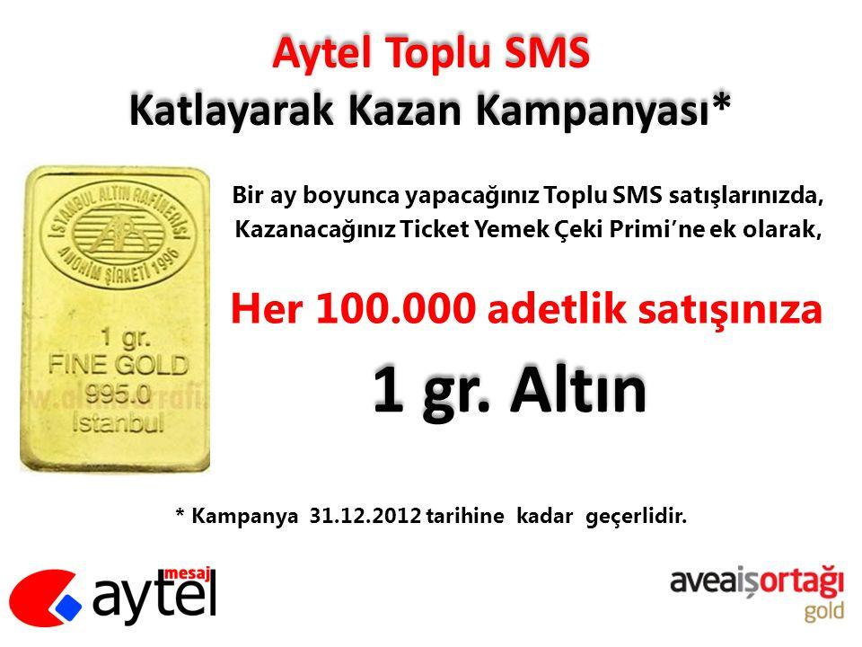 Aytel Toplu SMS Katlayarak Kazan Kampanyası* Bir ay boyunca yapacağınız Toplu SMS satışlarınızda, Kazanacağınız Ticket Yemek Çeki Primi'ne ek olarak,