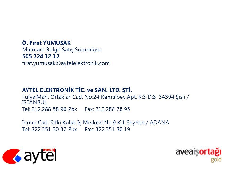 Ö. Fırat YUMUŞAK Marmara Bölge Satış Sorumlusu 505 724 12 12 firat.yumusak@aytelelektronik.com AYTEL ELEKTRONİK TİC. ve SAN. LTD. ŞTİ. Fulya Mah. Orta