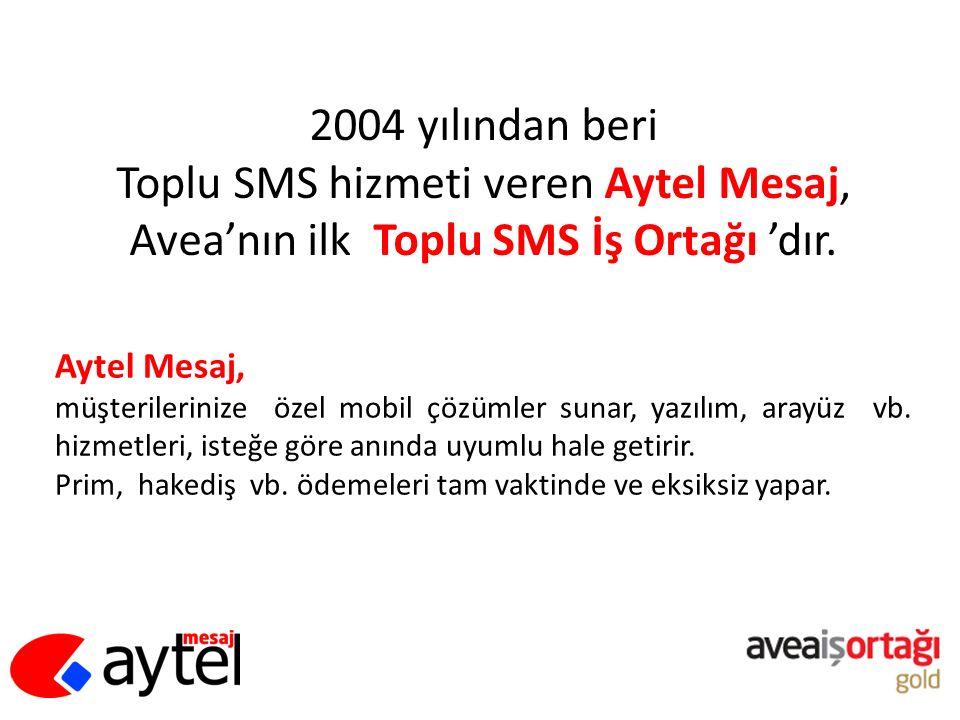2004 yılından beri Toplu SMS hizmeti veren Aytel Mesaj, Avea'nın ilk Toplu SMS İş Ortağı 'dır. Aytel Mesaj, müşterilerinize özel mobil çözümler sunar,