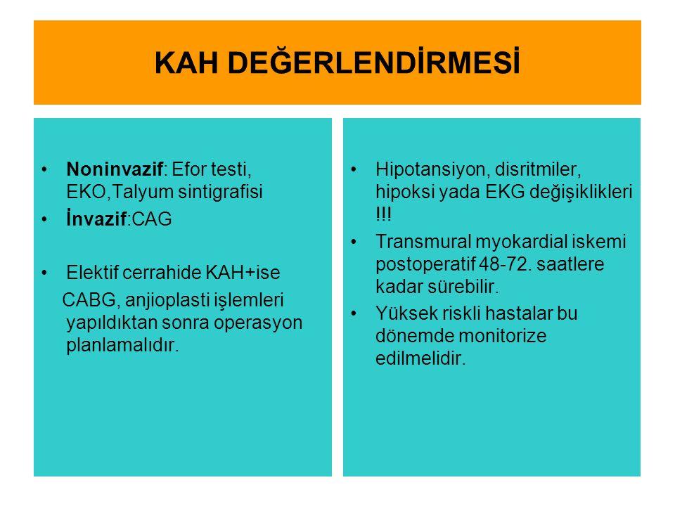 KAH DEĞERLENDİRMESİ Noninvazif: Efor testi, EKO,Talyum sintigrafisi İnvazif:CAG Elektif cerrahide KAH+ise CABG, anjioplasti işlemleri yapıldıktan sonra operasyon planlamalıdır.