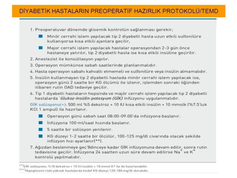 DİYABETİK HASTALARIN PREOPERATİF HAZIRLIK PROTOKOLÜ/TEMD