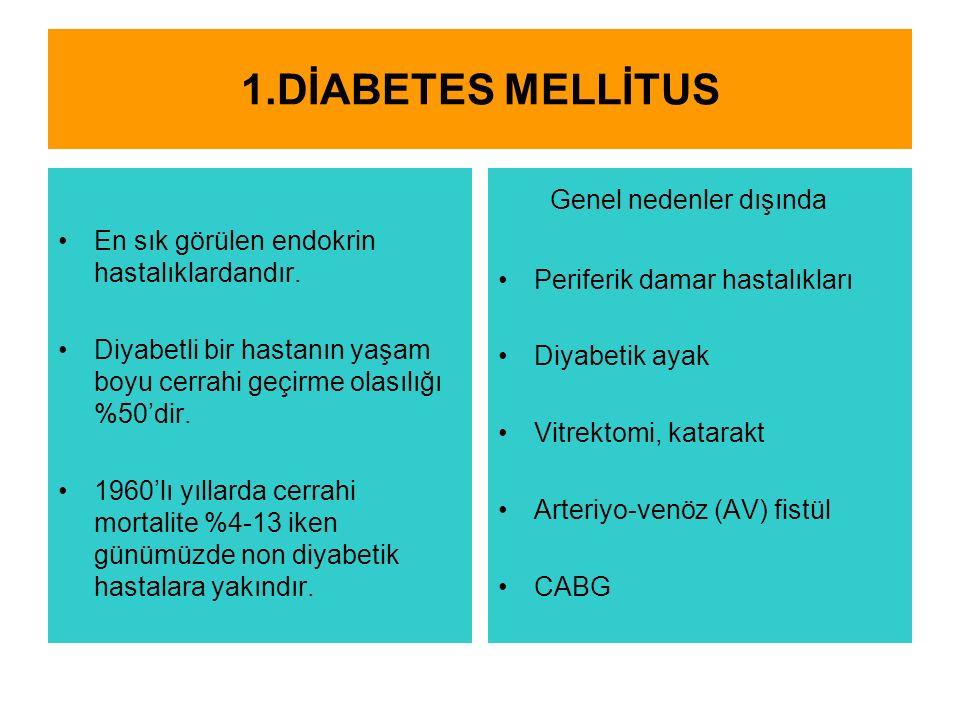 1.DİABETES MELLİTUS En sık görülen endokrin hastalıklardandır.