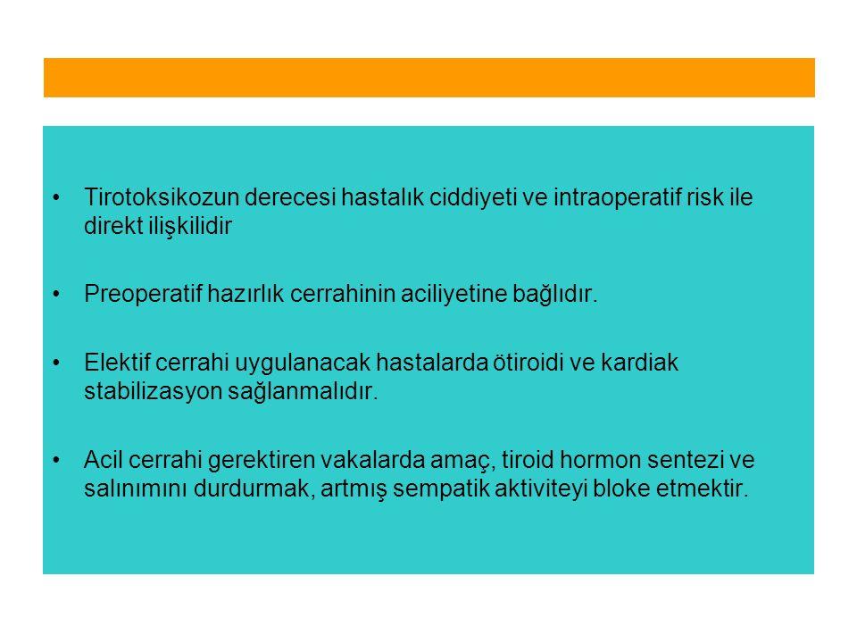 Tirotoksikozun derecesi hastalık ciddiyeti ve intraoperatif risk ile direkt ilişkilidir Preoperatif hazırlık cerrahinin aciliyetine bağlıdır. Elektif
