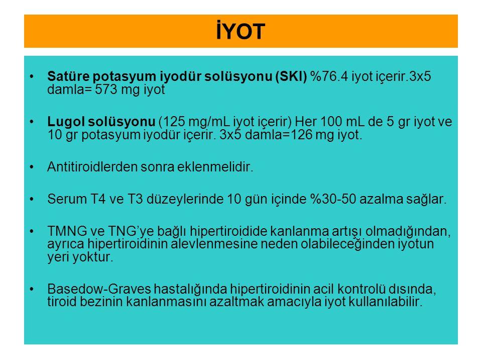 İYOT Satüre potasyum iyodür solüsyonu (SKI) %76.4 iyot içerir.3x5 damla= 573 mg iyot Lugol solüsyonu (125 mg/mL iyot içerir) Her 100 mL de 5 gr iyot ve 10 gr potasyum iyodür içerir.
