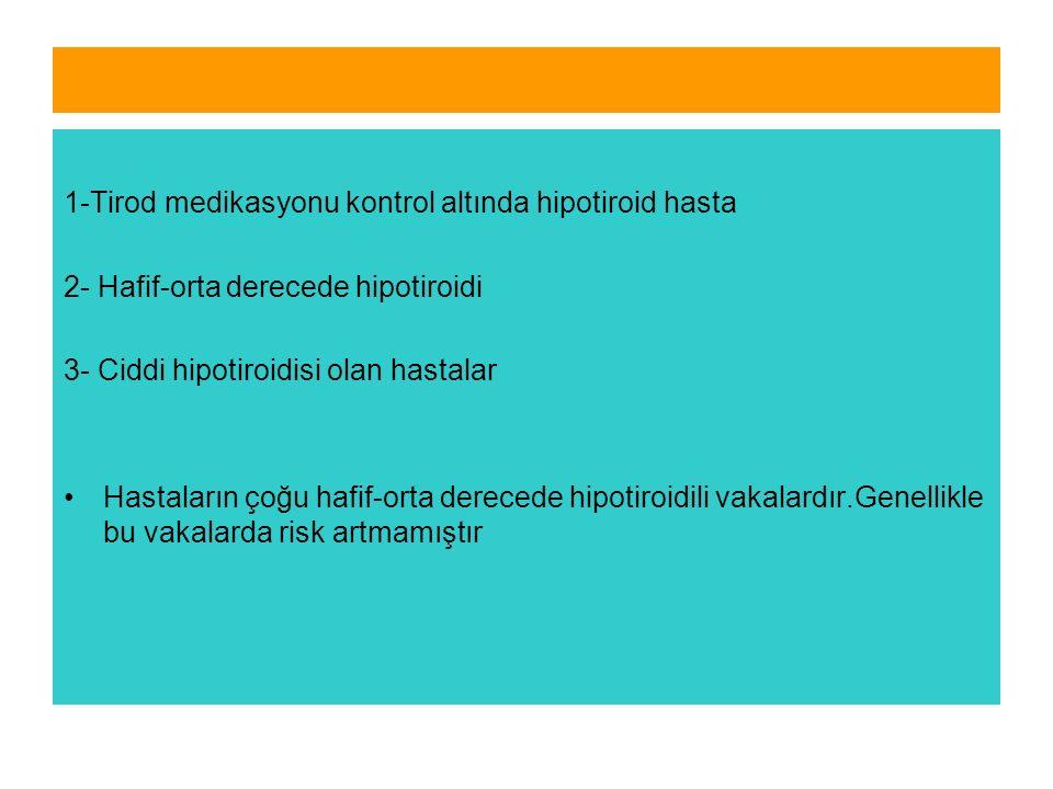 1-Tirod medikasyonu kontrol altında hipotiroid hasta 2- Hafif-orta derecede hipotiroidi 3- Ciddi hipotiroidisi olan hastalar Hastaların çoğu hafif-orta derecede hipotiroidili vakalardır.Genellikle bu vakalarda risk artmamıştır