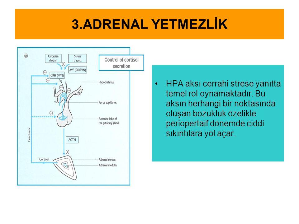 3.ADRENAL YETMEZLİK HPA aksı cerrahi strese yanıtta temel rol oynamaktadır. Bu aksın herhangi bir noktasında oluşan bozukluk özelikle periopertaif dön