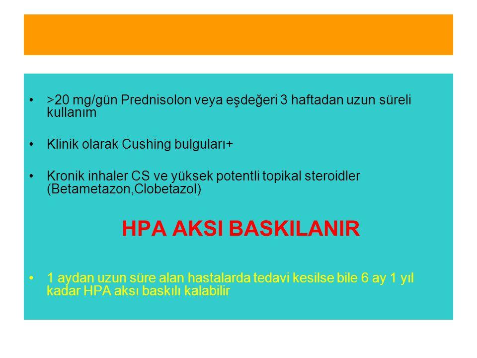 >20 mg/gün Prednisolon veya eşdeğeri 3 haftadan uzun süreli kullanım Klinik olarak Cushing bulguları+ Kronik inhaler CS ve yüksek potentli topikal steroidler (Betametazon,Clobetazol) HPA AKSI BASKILANIR 1 aydan uzun süre alan hastalarda tedavi kesilse bile 6 ay 1 yıl kadar HPA aksı baskılı kalabilir